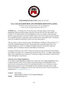 Gaines Endorsement Press Release