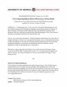 Secretary of State Debate Press Release